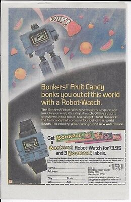 Vintage 1985 NABISCO Bonkers Fruit Candy Ad Robot Watch main in promo transform