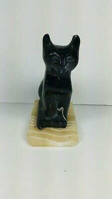 Antique Egyptian Cat Statue Black Marble Stone Carved Marble Base Vintage