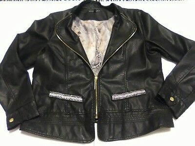 64ee118f6 BACCINI BLACK FAUX Leather Jacket XL Chains Crystals Snakeskin Print Lining
