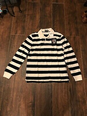 NWT Polo Ralph Lauren Mens Rugby Polo Shirt Patch Fit Large Striped