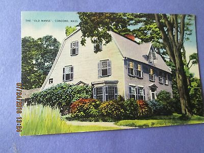 "Vintage Post Card ""The Old Manse"" Concord,  Mass. Unused Excellent Condition"