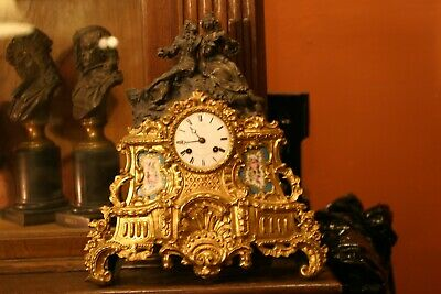 French Gilded Figural Sevres Mantle Clock, Signed Prize Medal,Circa 1851