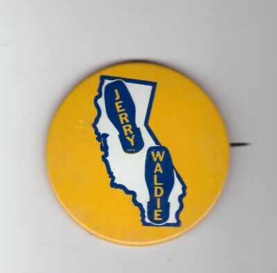 Jerry Waldie Watergate Judiciary Congress '74 Governor California Pinback Button