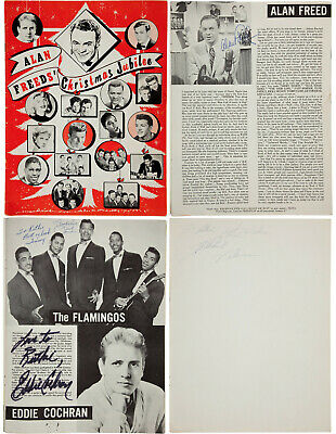 Rare Ritchie Valens, Eddie Cochran, more Signed Autographed '58 Program PSA/DNA