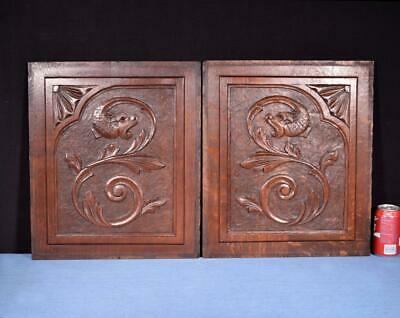 *Pair of Antique French Carved Oak Wood Panels with Dragons/Griffins Salvage
