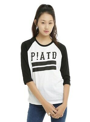 a65f66f3 Juniors PANIC! AT THE DISCO P!ATD LOGO GIRLS RAGLAN Black White Baseball NEW