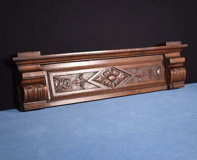 """*26"""" French Antique Pediment/Crest in Carved Walnut Wood Salvage"""