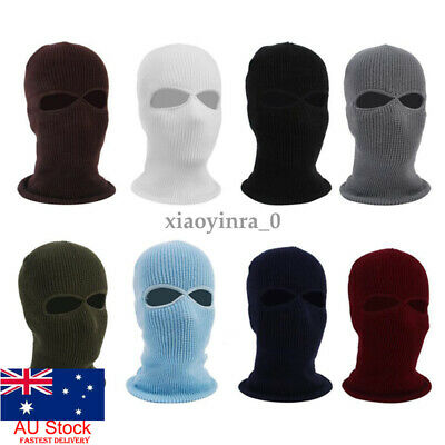 AU Knit 2 Holes Ski Mask BALACLAVA Hat Full Face Shield Beanie Cap Winter Warm