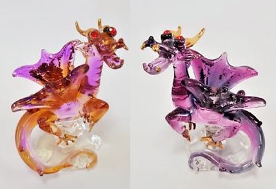 Blown Glass Mini Magical Dragons set of 2