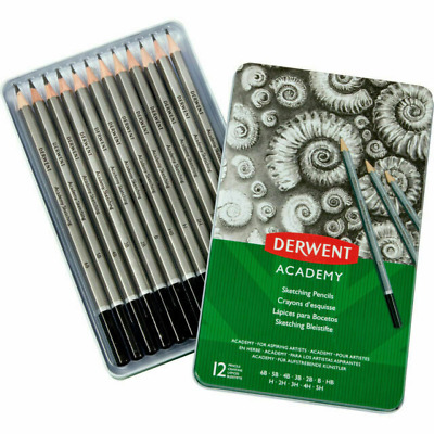 NEW IN TIN 12x Derwent Sketching Drawing Pencil Set Graphite Assorted Shades H