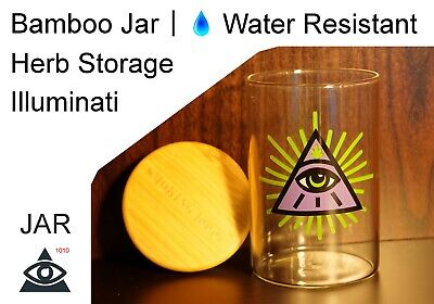 Bamboo Illuminati Glass Jar Water Resistant Herb Varnished & Sealed Mix Storage