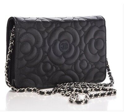 3a06f36a52b5 NEW CHANEL BLACK CAMELLIA WOC MINI CLUTCH CAVIAR LEATHER BAG Wallet On Chain