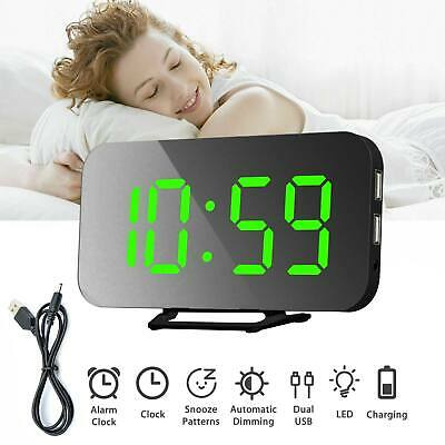 Electric Alarm Clock Night Light LED Display Snooze Mirror Clock with Dimmer UK