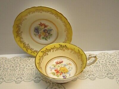 A Stunning Vintage Paragon Tea Cup And Saucer Yellow Floral Gold Trim & Lovely!