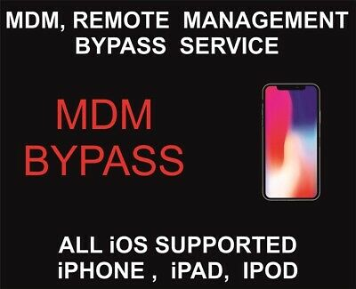 IPHONE MDM unLock Bypass Apple Remote Management Profile Remove IPAD IPOD OS12.3