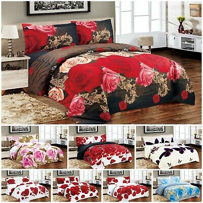 3D Effect Printed Duvet Cover Quilt Bedding Set with Pillow Cases & Fitted Sheet
