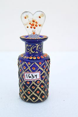 Vintage Old Islamic Painted Colored Cut Glass Perfume Bottle Collectible NH1634