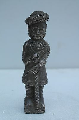 Antique Old Indian Silver Plated coated Wooden watchman/darbar Collectibl NH1382