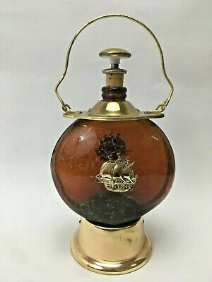 Vintage Boats Theme Boats Lantern Amber Glass Decanter with Pourer and Music Box