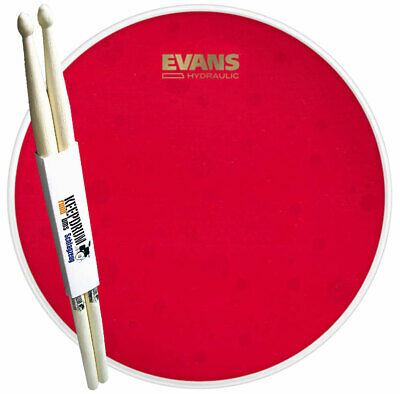 "Evans B14HR Hydraulic Red Coated Snare Fell 14"" + keepdrum Drumsticks 1 Paar"