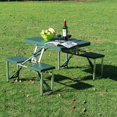 Portable Folding Picnic Table With Chairs Bbq Camping Outdoor Garden Set