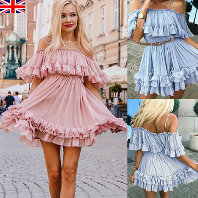 Womens Ruffle Mini Dress Holiday Chiffon Summer Party Smock Dresses Ladies Beach