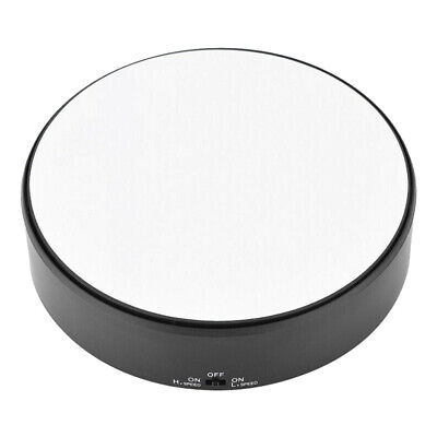 Round Mirror Top Electric 360° Turntable Rotating Jewelry Display Stand Showcase