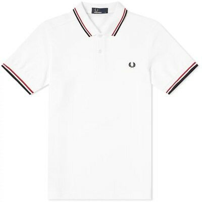 New Fred Perry Twin Tipped Polo Shirt White Red Navy S M L XL M3600 Slim Fit