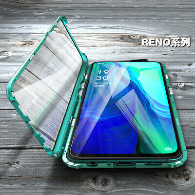 OPPO Reno 10X Zoom Magnetic Adsorption Metal Bumper Case Tempered Glass Cover