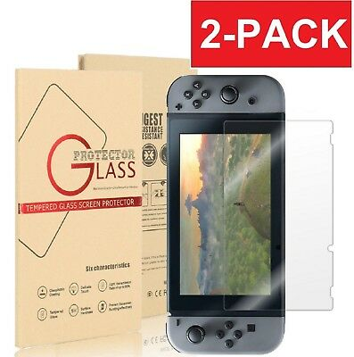 (2 Pack) For Nintendo Switch Clear Slim Premium Tempered Glass Screen Protector