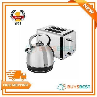 Swan Stainless Steel 1.7 L Kettle & 2 Slice Toaster In Silver