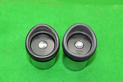 Pair of Carl Zeiss Microscope Eyepieces Lens 25x Laboratory Lab Equipment