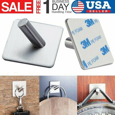 4X Strong Self Adhesive Stainless Steel Hooks Kitchen Bathroom Stick On Wall USA
