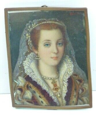 "Antique Late 19th Century Painting ""Bianca Cappello"" by E. Melocchi - Florence"