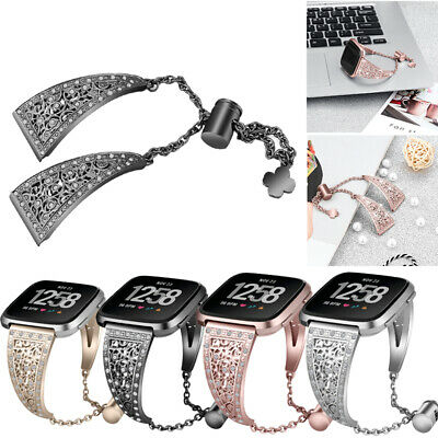 For Fitbit Versa/Lite Diamond Bling Stainless Steel Strap Watch Band Wristband