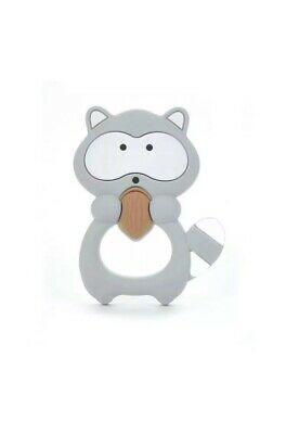 Silicone  Raccoon  Teether Shooter toy For Baby grey teething toy