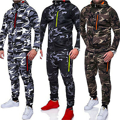 Mens Tracksuit Set Hoodie Top Bottoms Joggers Running Camouflage Complete Outfit