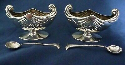 Pair of Victorian Nautilus Shell Sterling Silver Salts with matching Spoons
