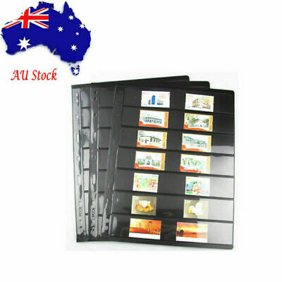 9 Holes 5 sets Black Double-sided Currency/Stamp Collection Album Pages AU