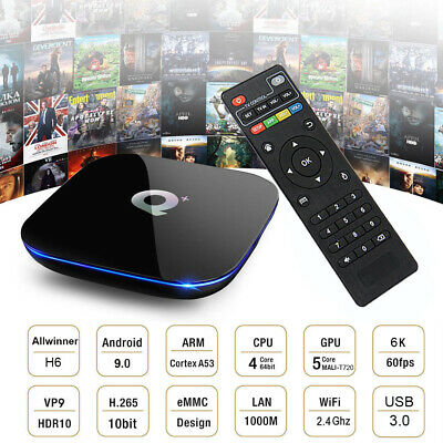 Q plus 6K 4+32G Android 9.0 Pie Smart TV Box Quad Core WIFI USB 3.0 Movies Films