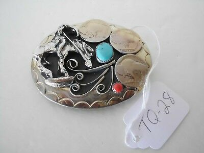 Belt Buckle End Of Trail 1-Turquoise 1-Coral 3- Buffalo Nickles Usa Nos Tq-28 G6