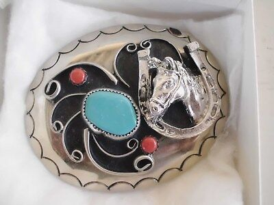 BELT BUCKLE LUCKY HORSE SHOE 1-TURQUOISE 2-CORAL SOUTHWEST MADE USA T-23 apr