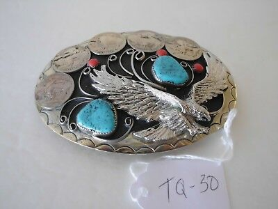 Belt Buckle Eagle 2-Turquoise 3-Coral 5 Genuine Buffalo Nickles Tq-30 Gr 3