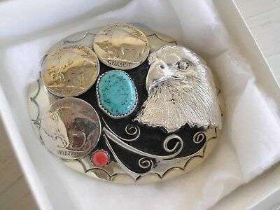Belt Buckle 3 Buffalo Nickles 1-Turquoise 1-Coral Eagle Head Southwest T 22 Mkd