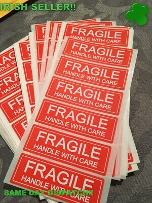 FRAGILE Handle With Care Labels Stickers red and white 1 x 3 inch 100pcs
