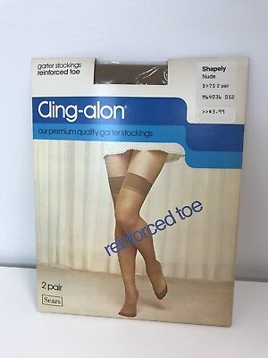 b15e6dfa2 2 Pair VTG Sears Cling-alon Garter Stockings Shapely Nude Thigh High 8.5-11