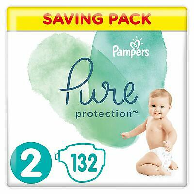 Pampers Pure Protection Size 2 Nappies Mega Saving Pack of 132 Diapers NEW