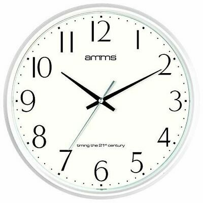 Amms Wall Clock Silent Movement White Case Black Numbers White Face 2073