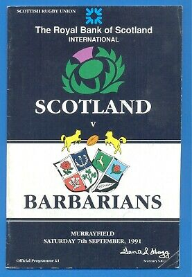 SCOTLAND v BARBARIANS.RUGBY UNION PROGRAMME 7th SEPTEMBER 1991
