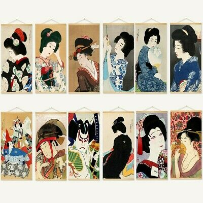 Japanese Geisha Tapestry Wall Hanging Pictures Retro Wall Art Home Decor Retro